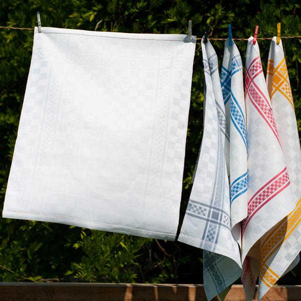 Reinleinen Hohlsaum, weiß, grau, blau, rot und gelb